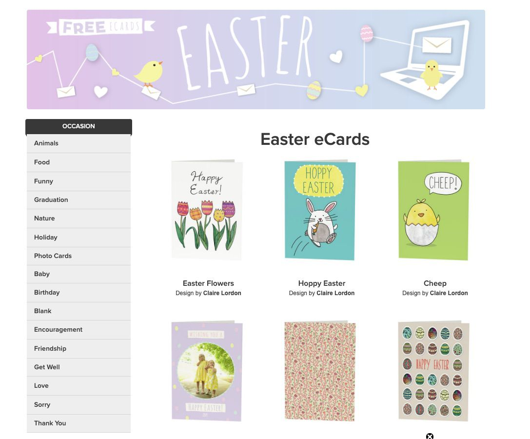 The free Easter ecards at Open Me