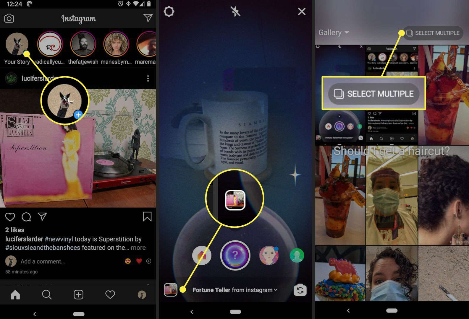 The Your Story, Gallery, and Select Multiple buttons in Instagram