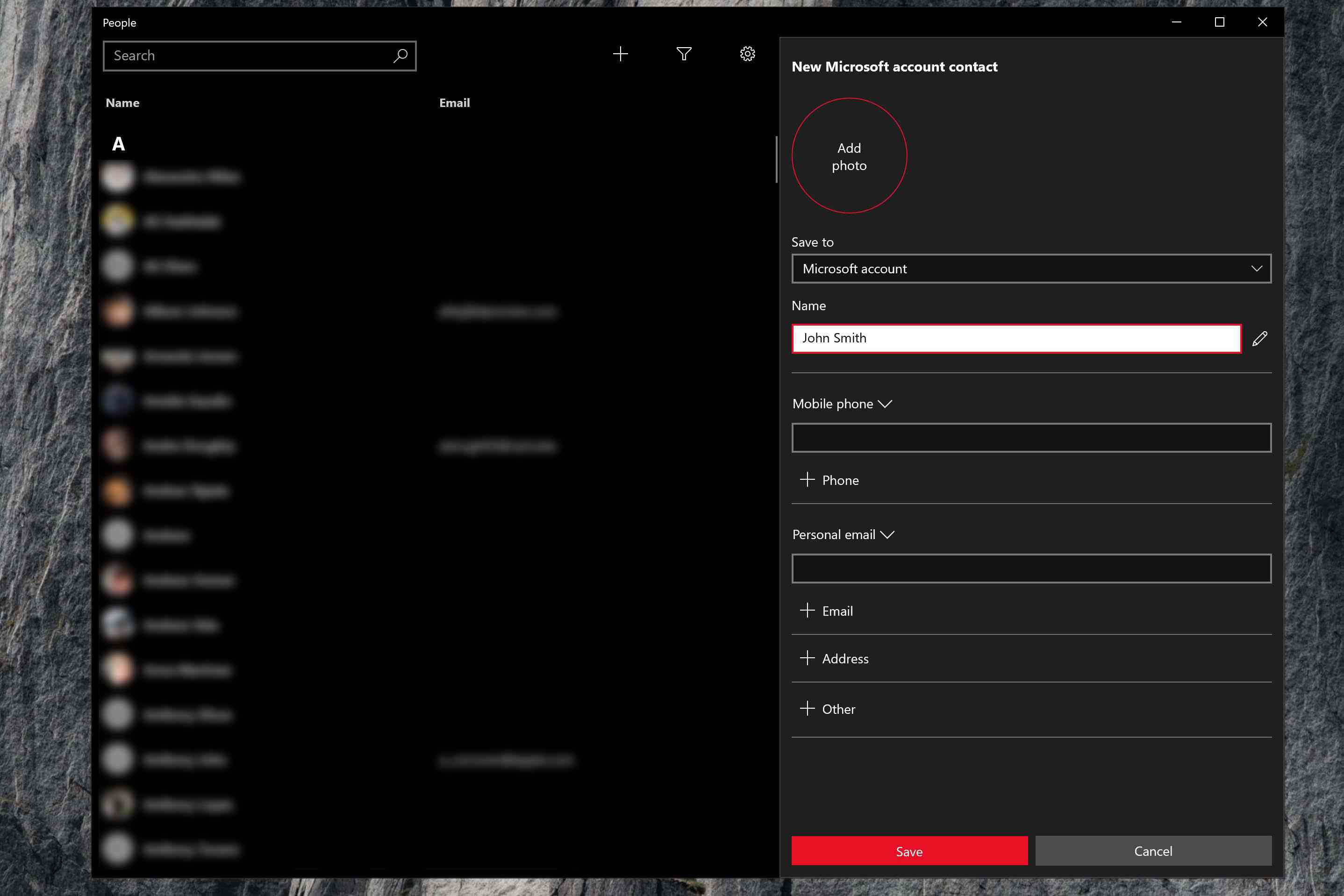 Screenshot showing how to add a new contact