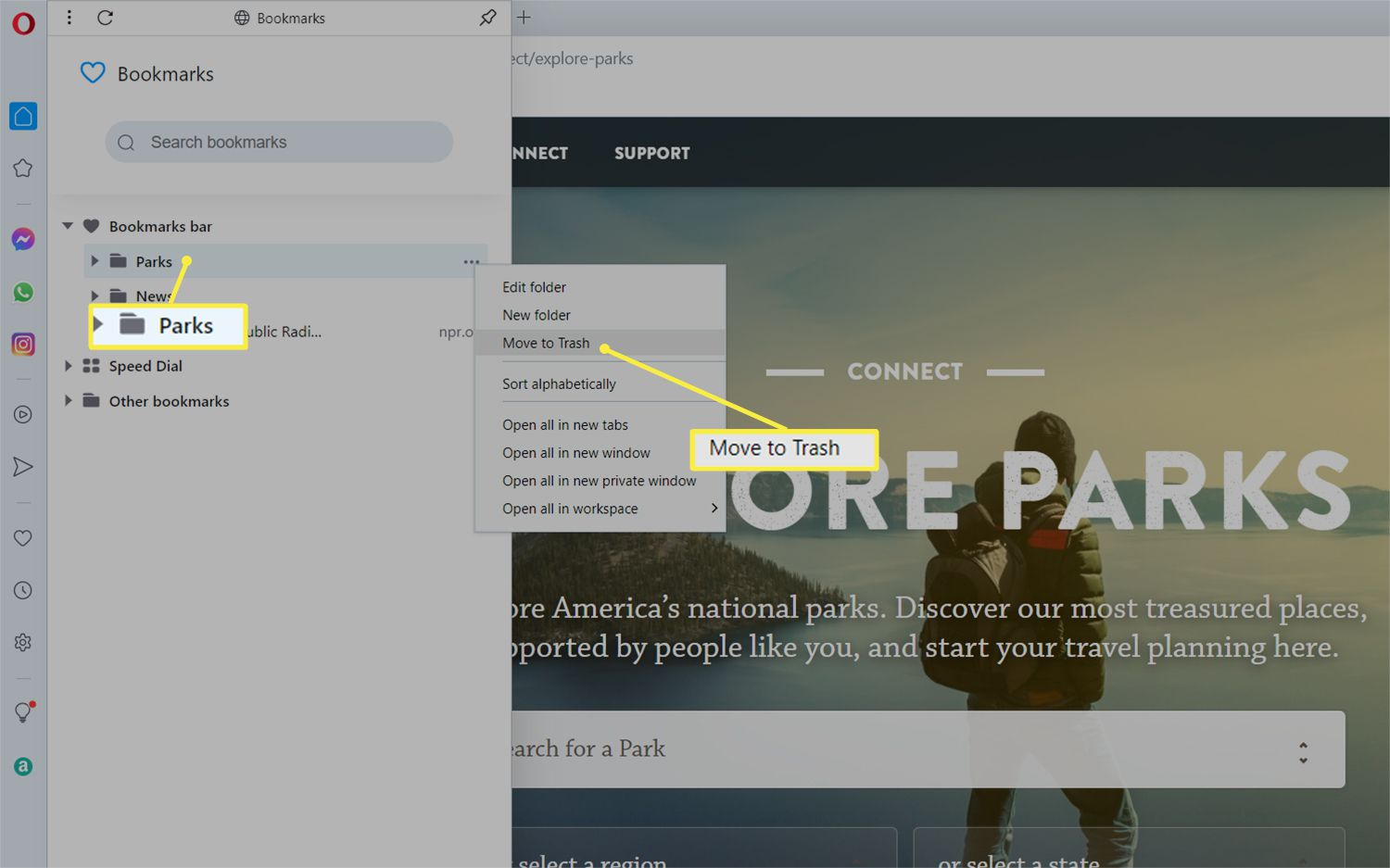 Folder highlighted with the Move to Trash option from the Bookmarks manager in the Opera web browser