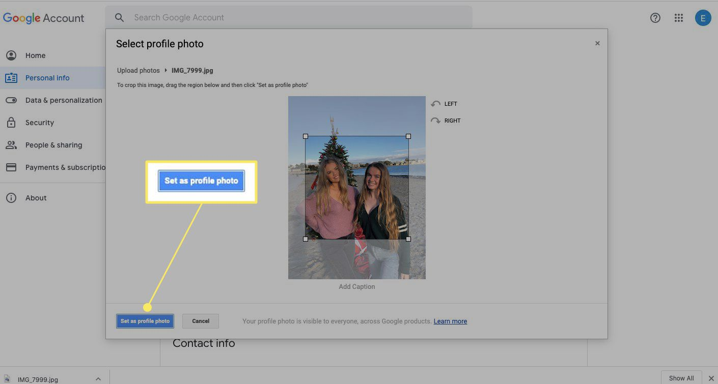 Select Set as profile photo when you're happy with your Google profile pic