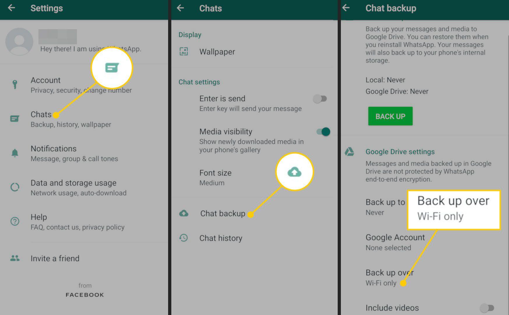 Backup settings in WhatsApp
