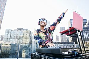 DJ mixing music live
