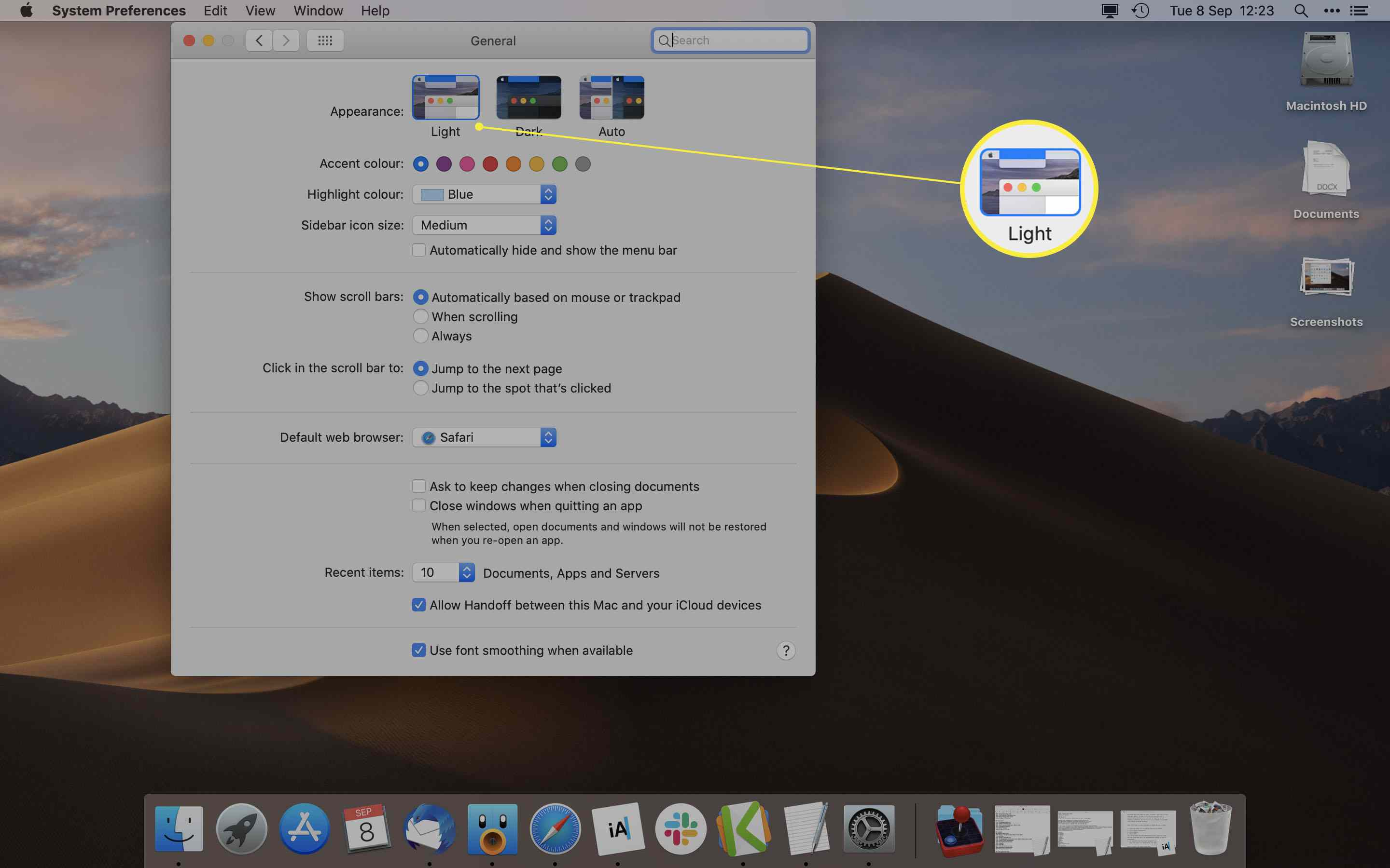 MacOS System Preferences with Light appearance highlighted