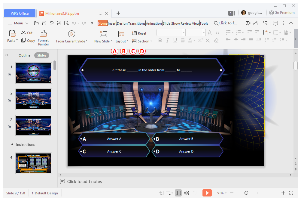Who Wants to Be a Millionaire PowerPoint game