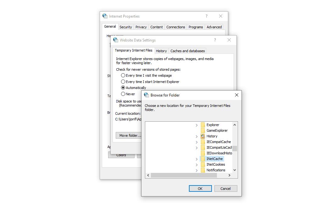Internet Explorer temporary internet files folder in Windows 10