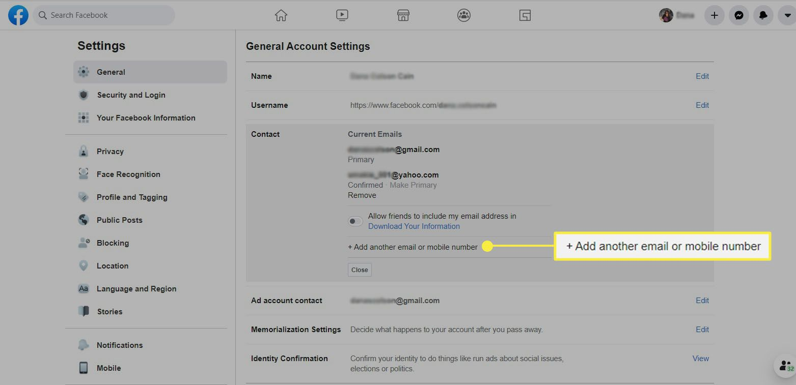 Facebook - Add another email or mobile number