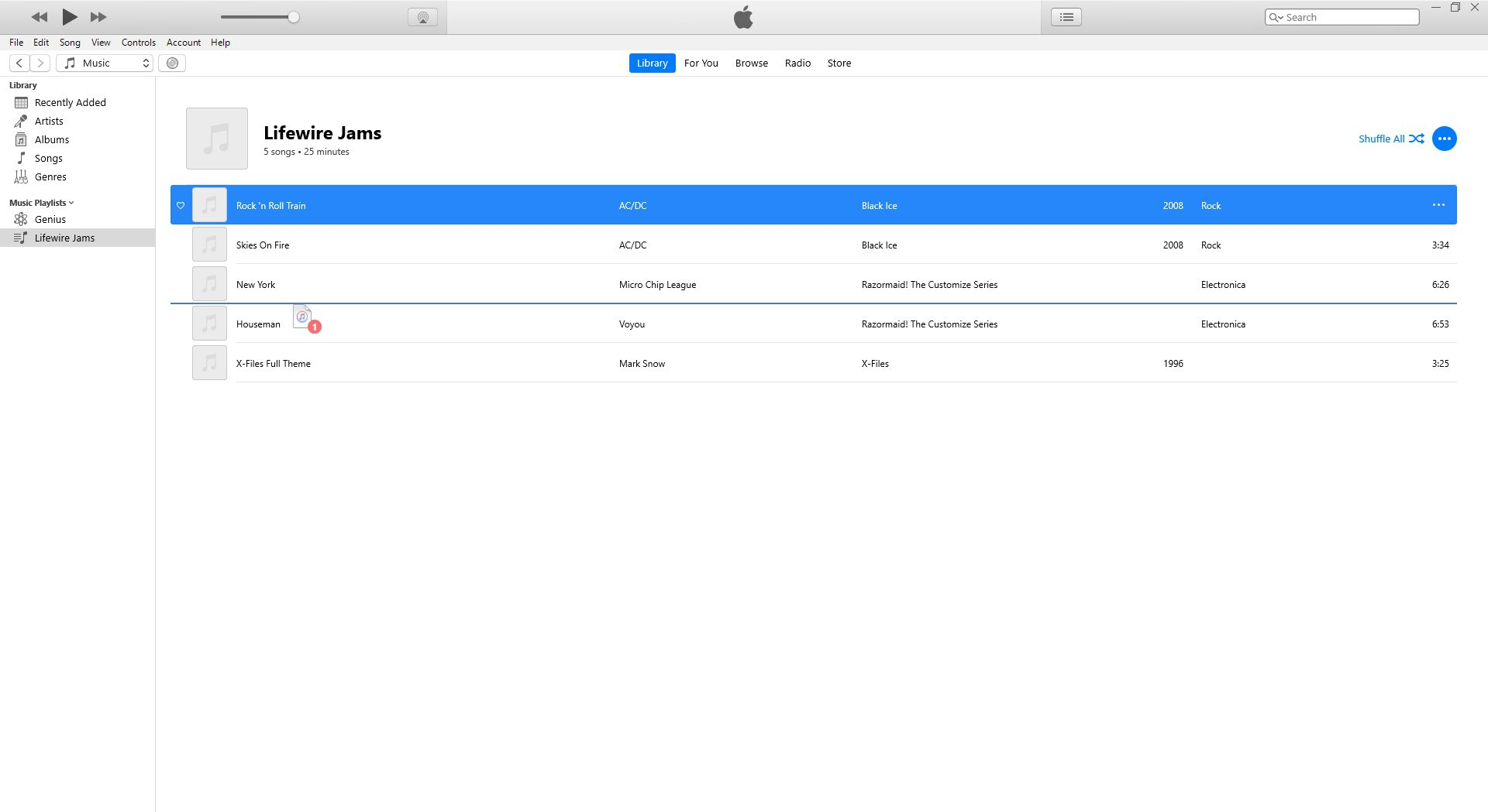 Re-ordering songs in iTunes playlist.