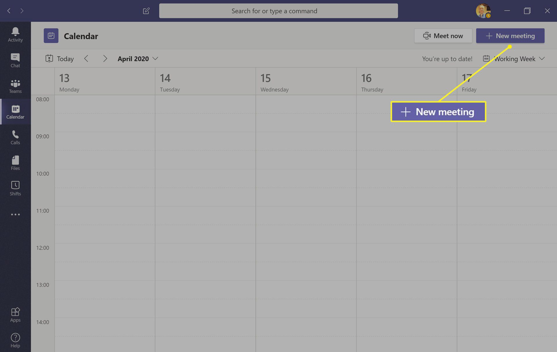 Microsoft Teams app with New meeting highlighted