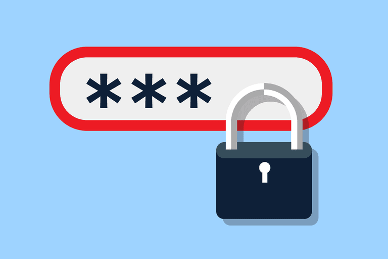 Illustration of a password field with a lock on it