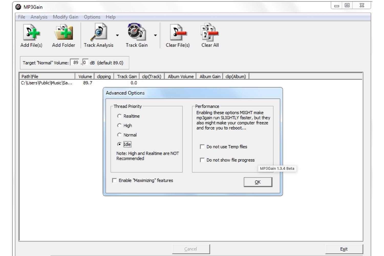 MP3Gain software screenshot