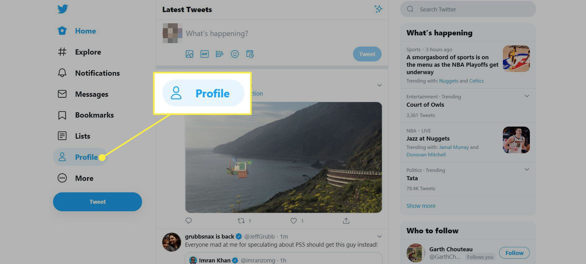 The Profile button on Twitter