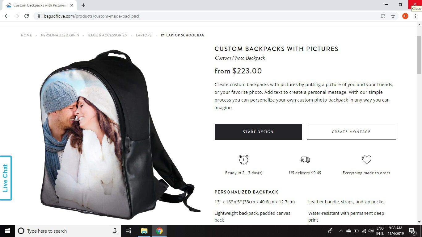 Custom backpacks with pictures from Bags of Love