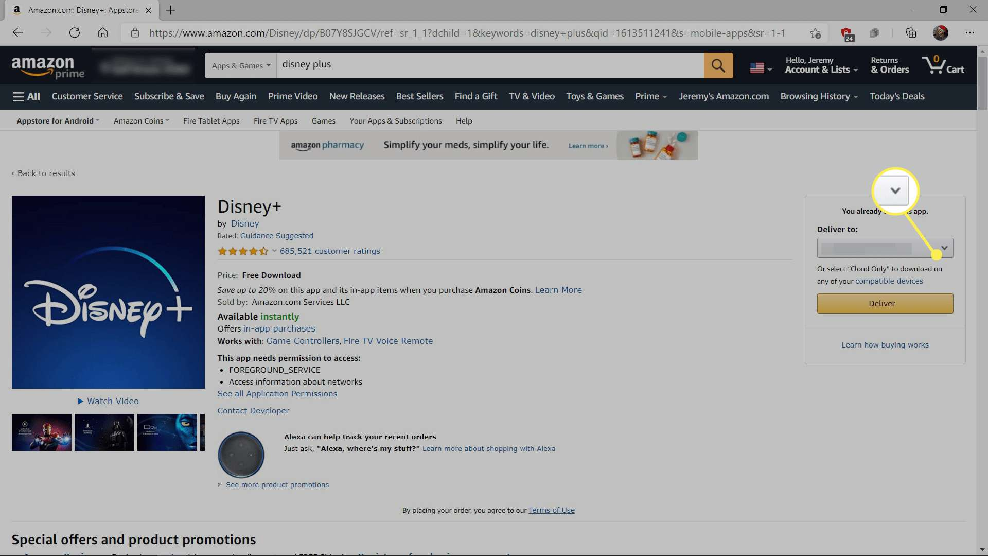 Disney Plus on Amazon with the Deliver to dropdown highlighted