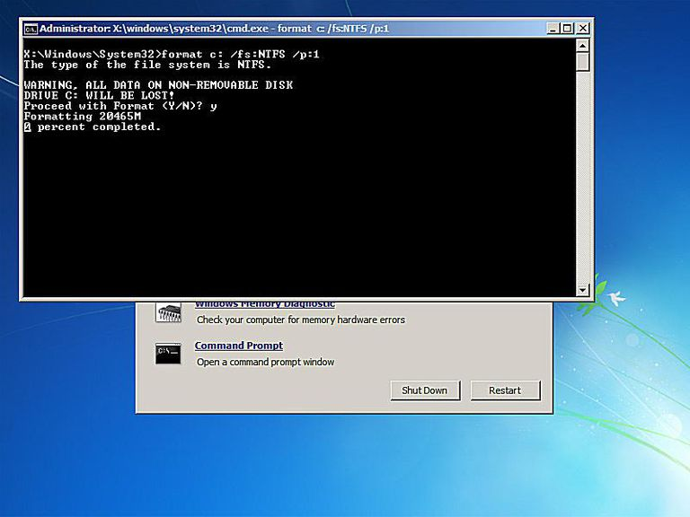Screenshot of the format write zero command in a command prompt from a System Recovery Disc