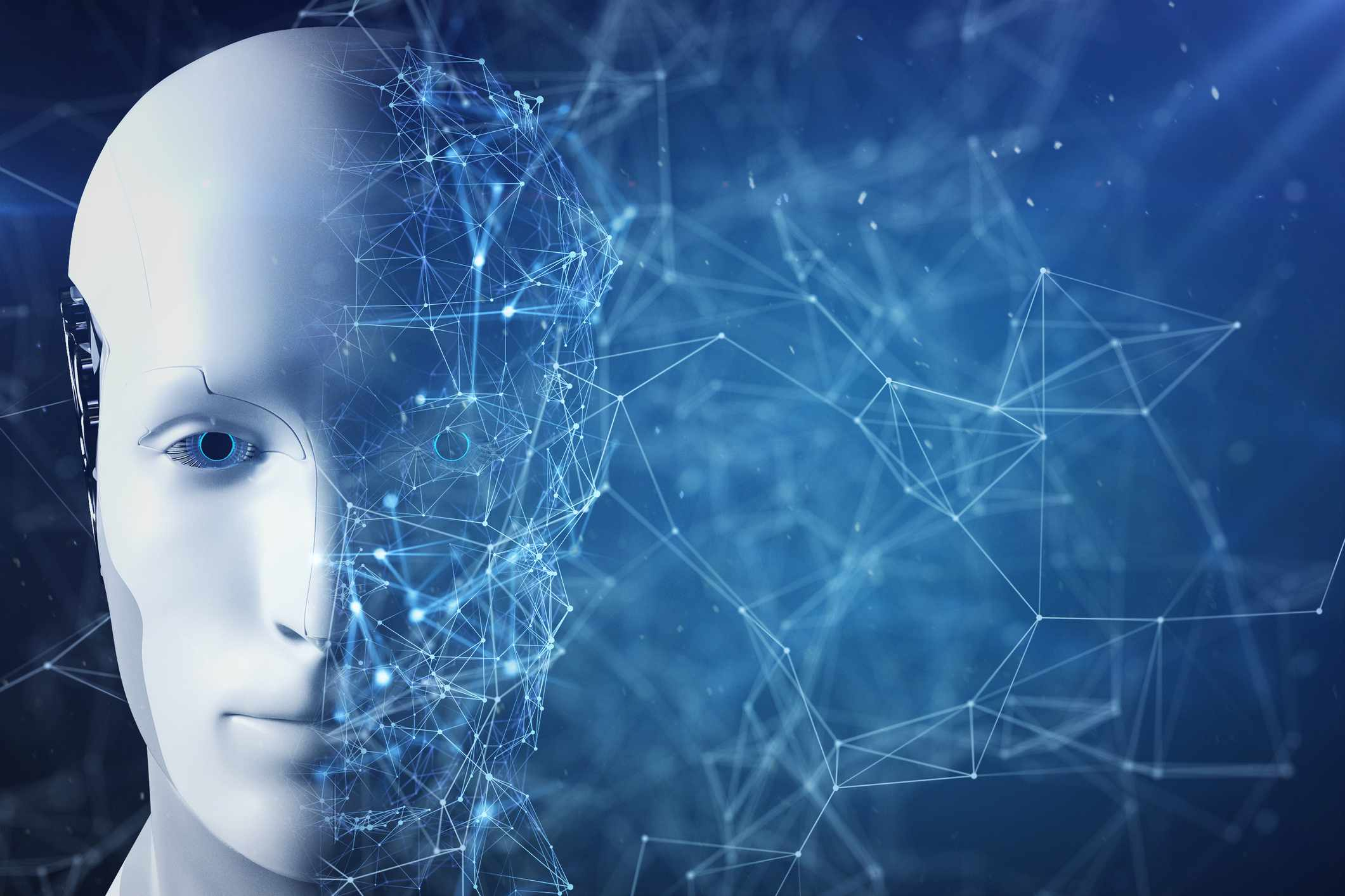 conceptual image: Artificial Intelligence robot face is divided in two parts, completion and inside of networking form.