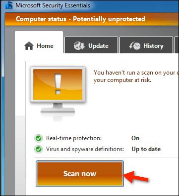 Security Essentials Virus Scan