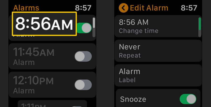 Alarm time, editing options for Apple Watch
