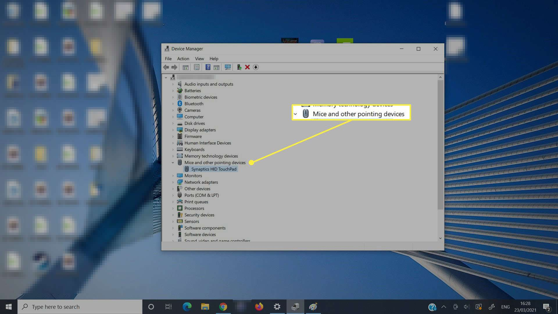 Selecting the Touchpad in Device Manager