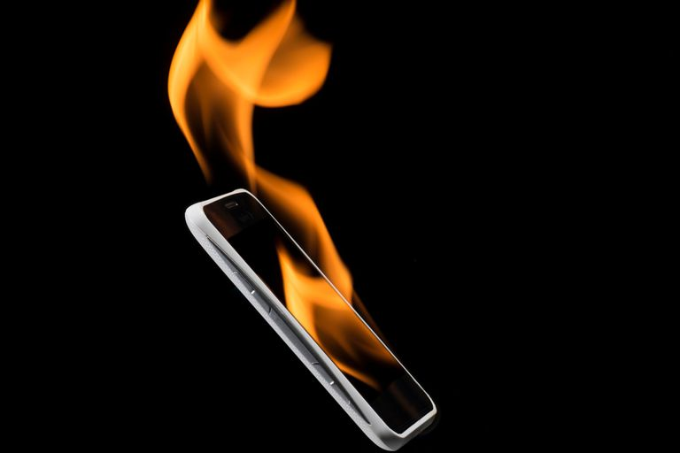 Burning smartphone