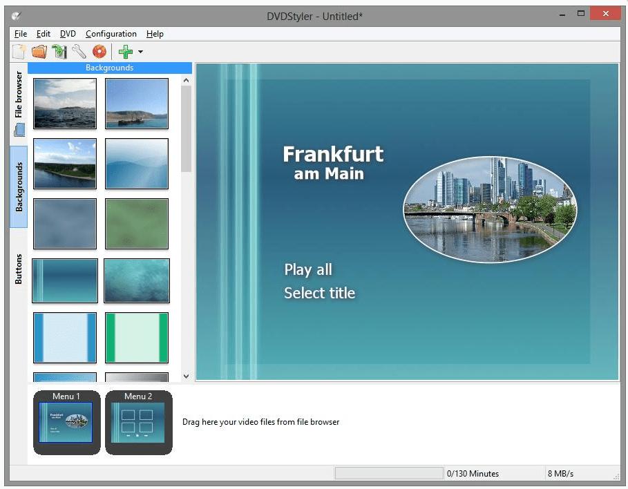 DVDStyler software for burning DVDs