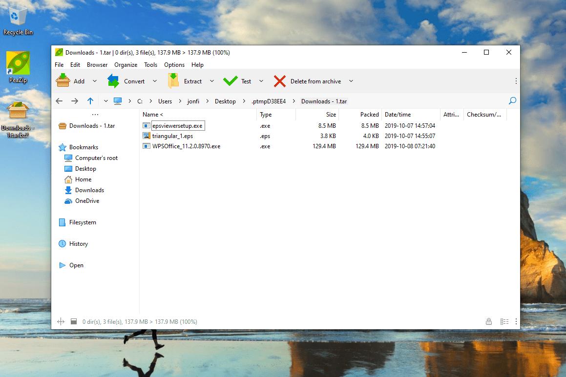 BZ2 file open in PeaZip