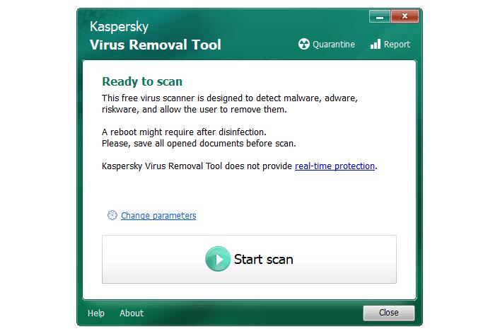Screenshot of Kaspersky Virus Removal Tool in Windows 10