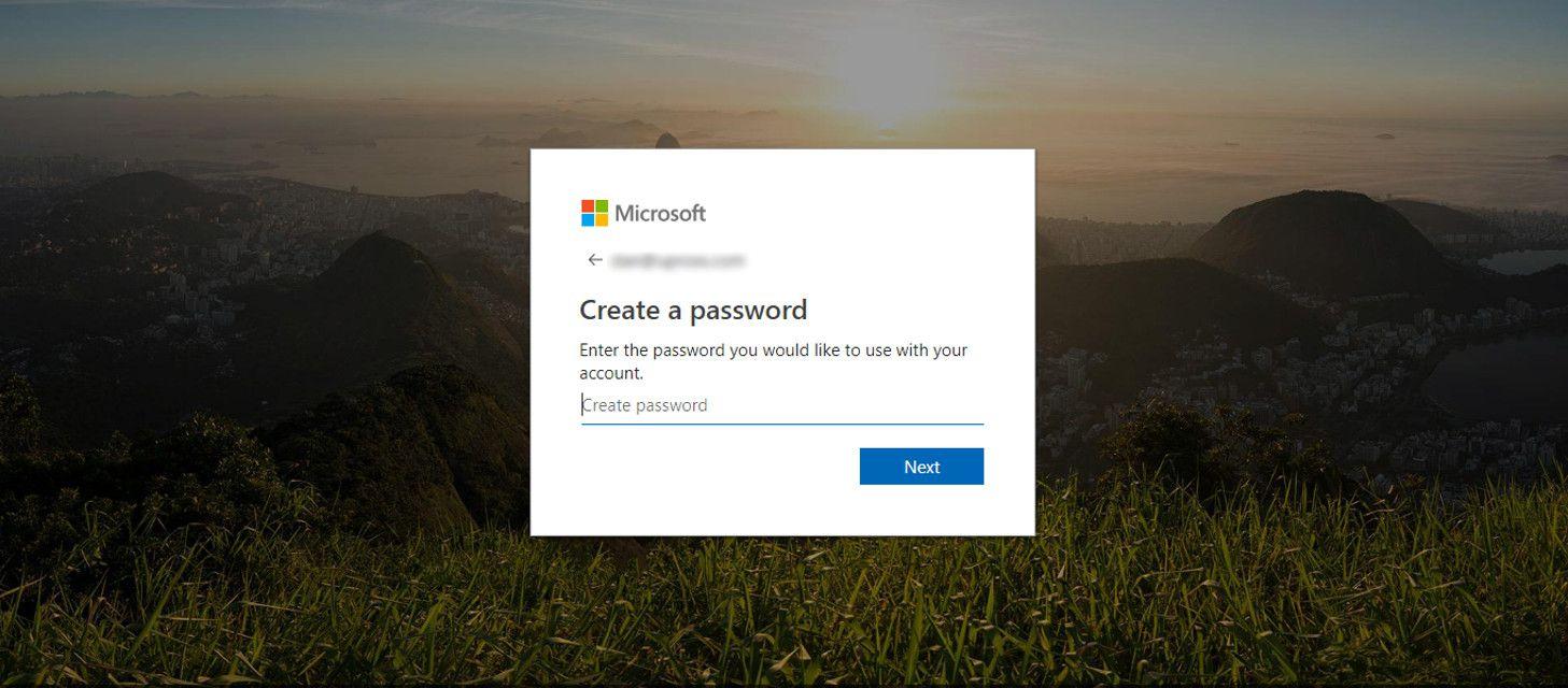 Microsoft account password page