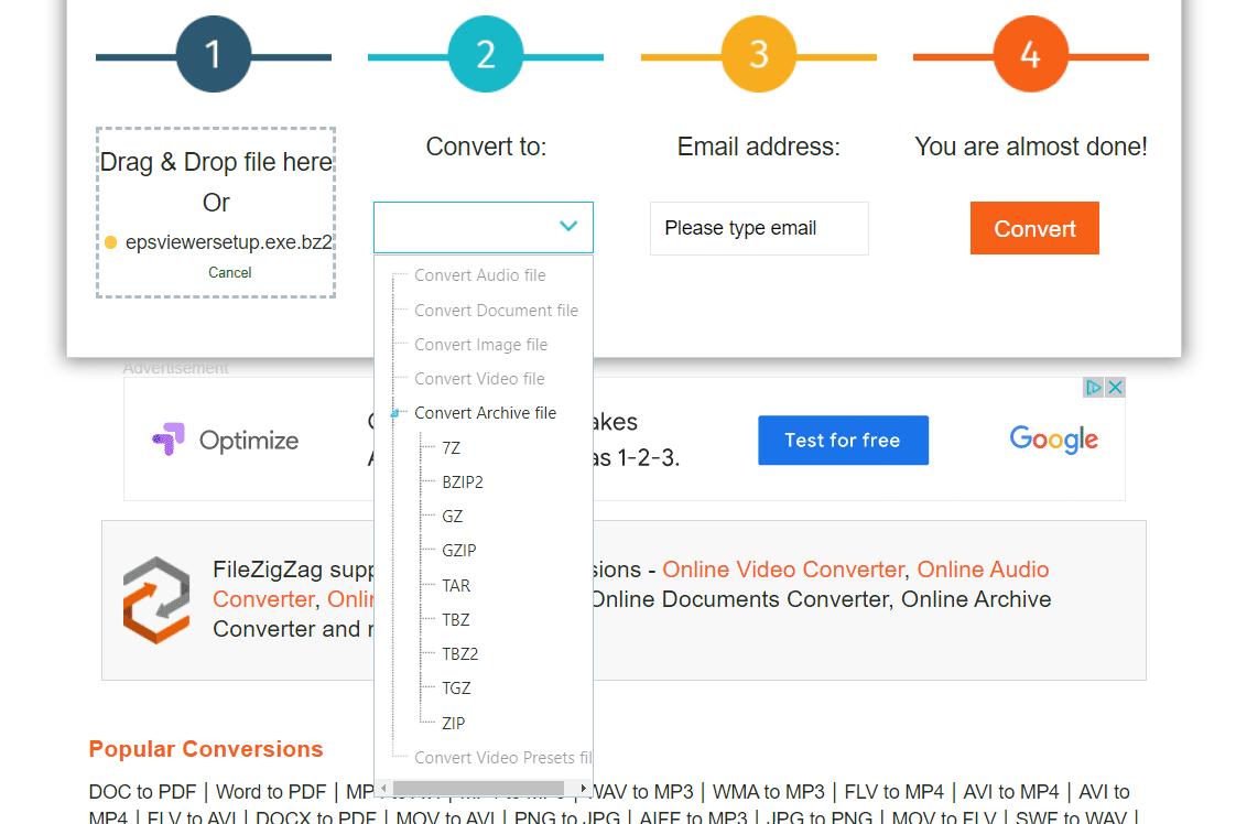 BZ2 conversion at FileZigZag