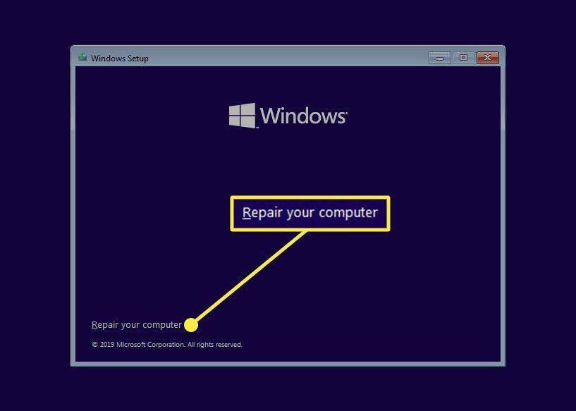 Windows 10 repair your computer link in the setup program.