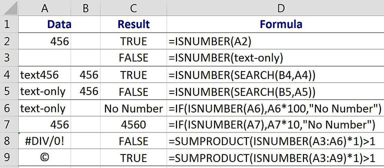 Find Cells Containing Numbers with Excel's ISNUMBER Function