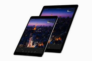 Two different sized Space Gray iPad Pros