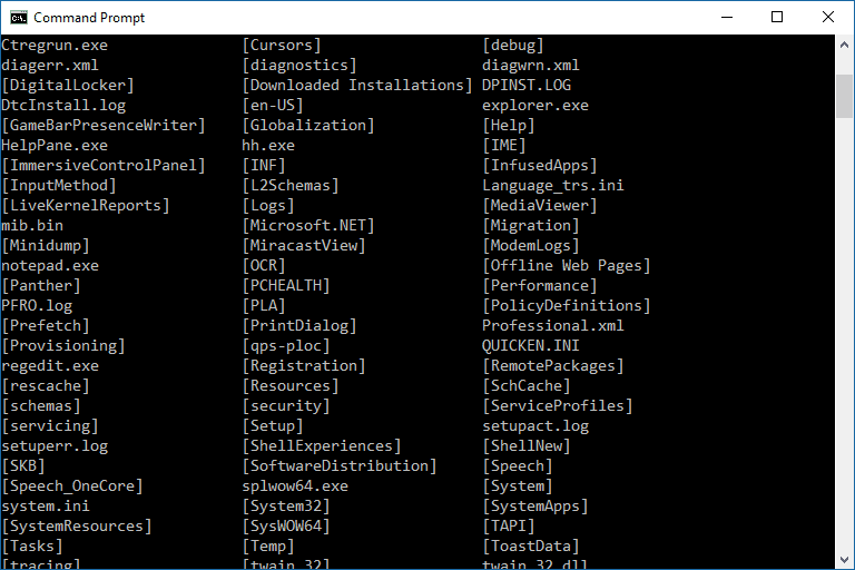 Command prompt commands a complete list cmd commands screenshot of a command prompt window in windows 10 ccuart Choice Image