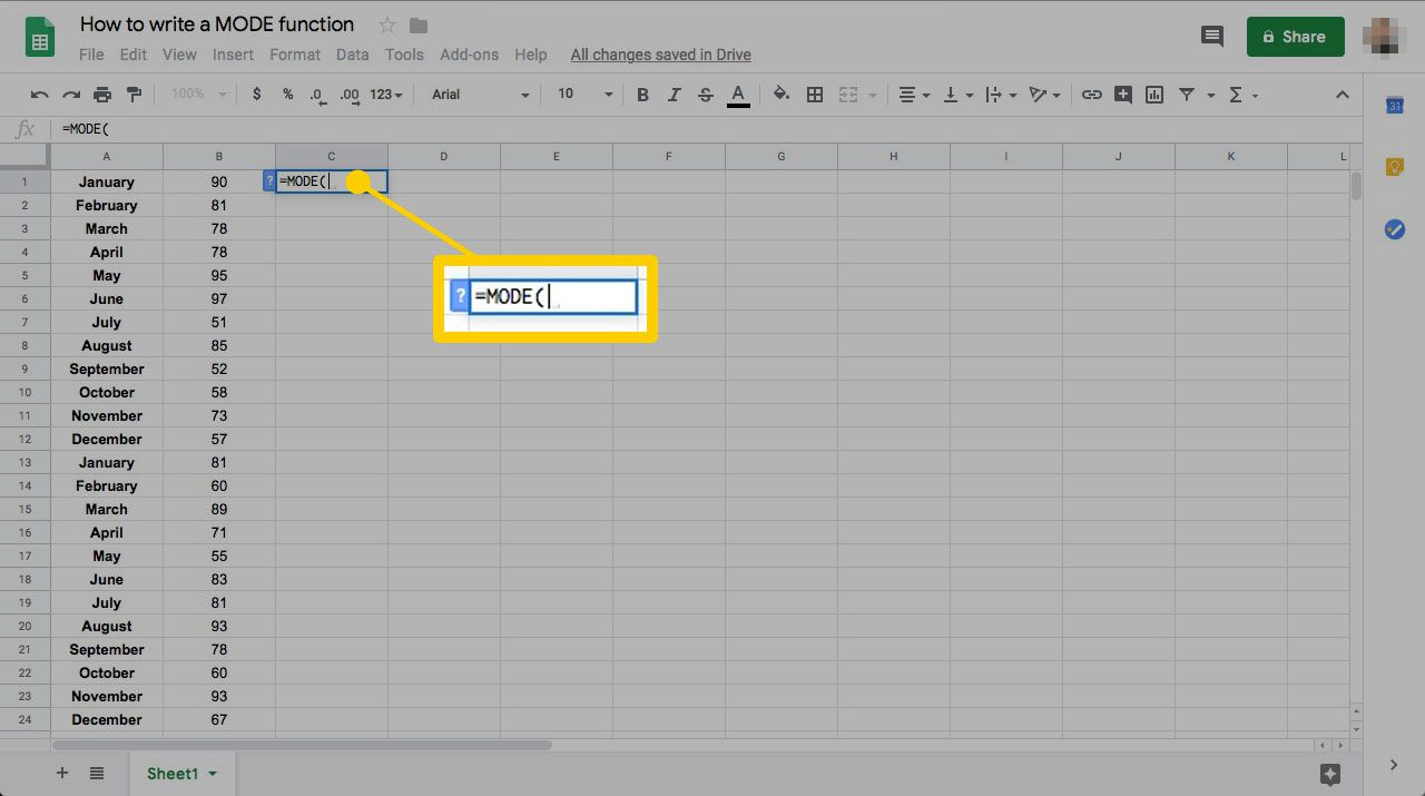 Understand the MODE Function in Google Sheets