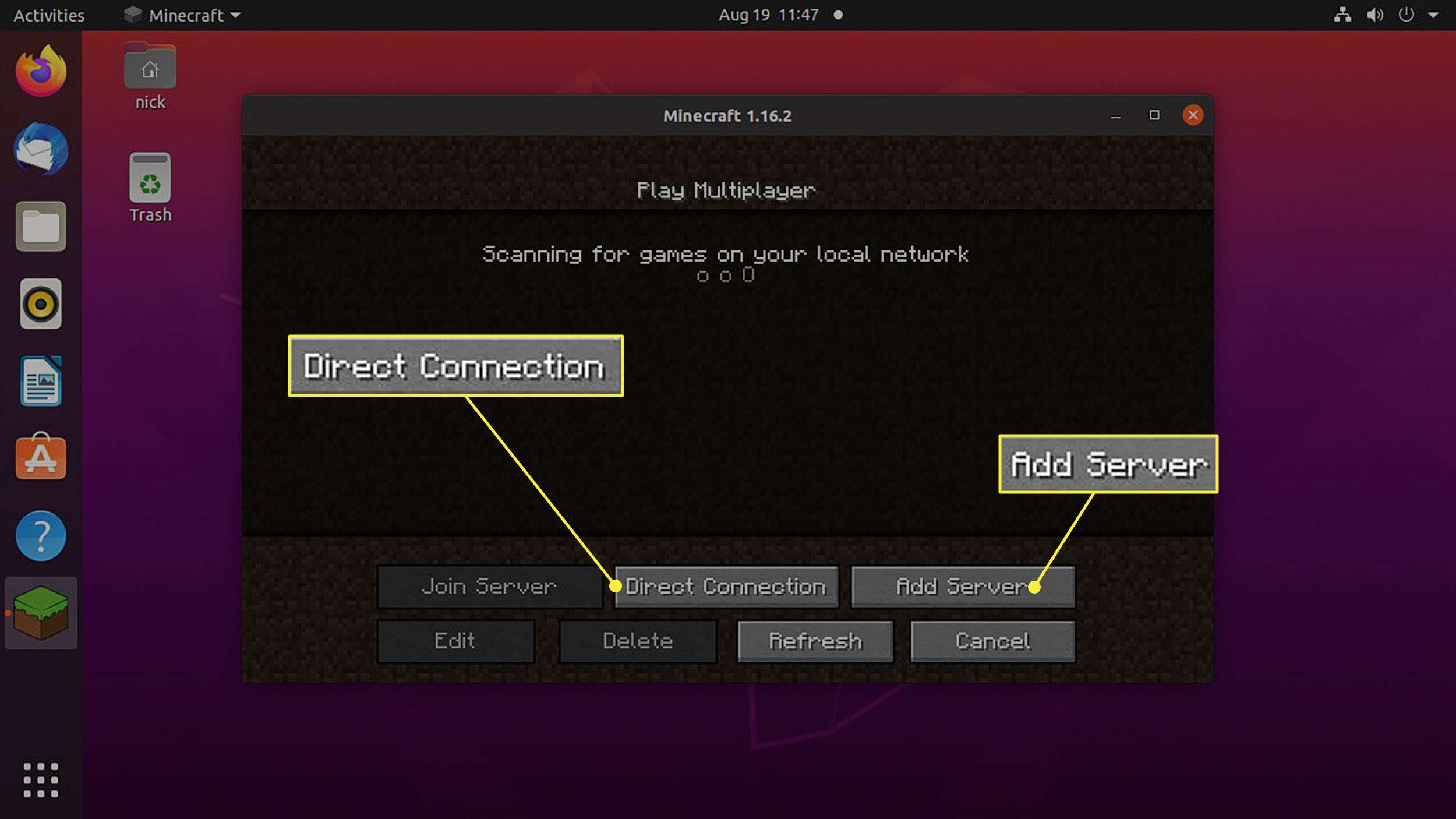 The Direct Connection and Add Server buttons