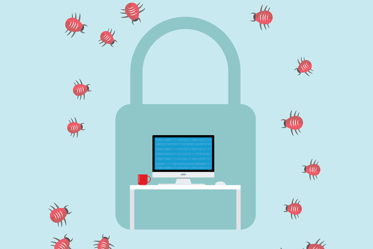 Illustration of a computer being protected by a lock with bugs trying to get in