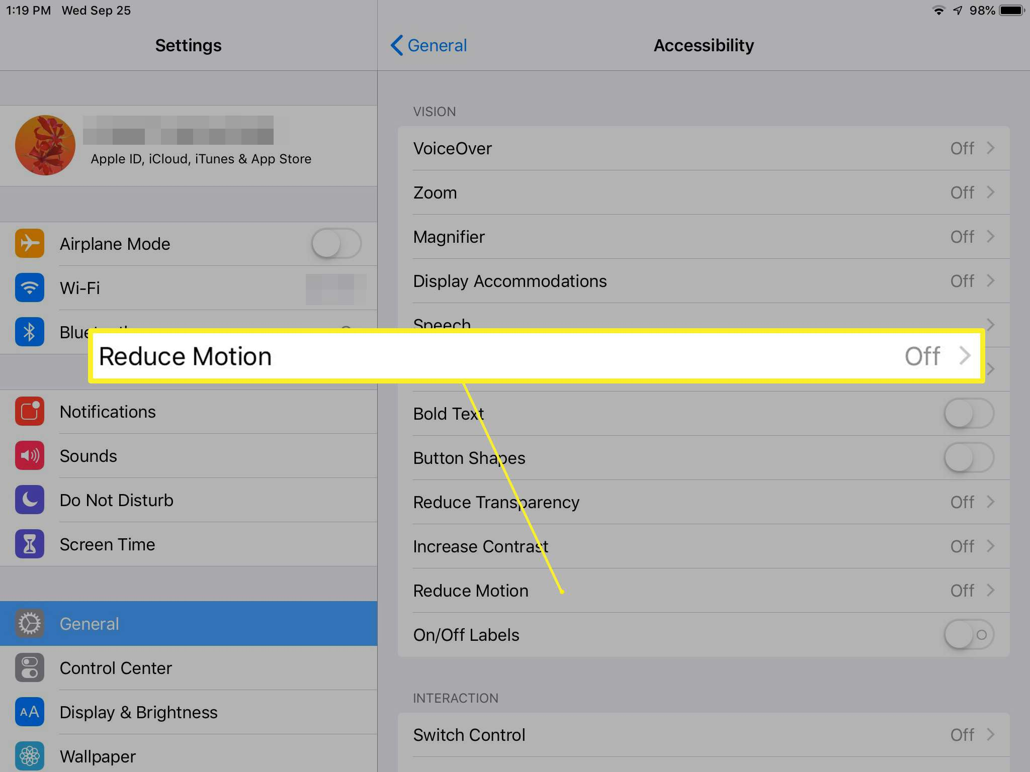 Accessibility settings showing Reduce Motion option on iPad
