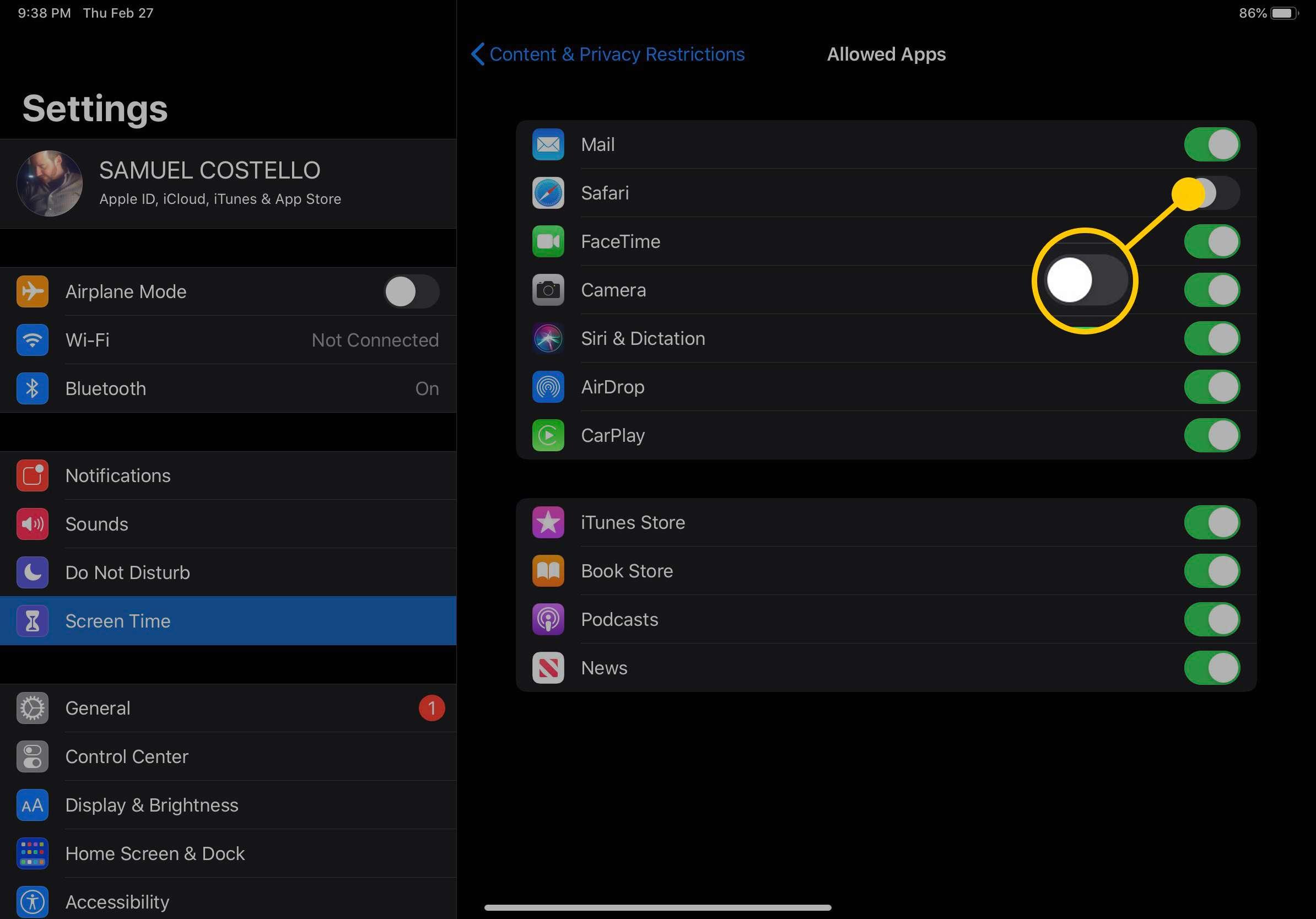 Screenshot of iPad Allowed Apps settings
