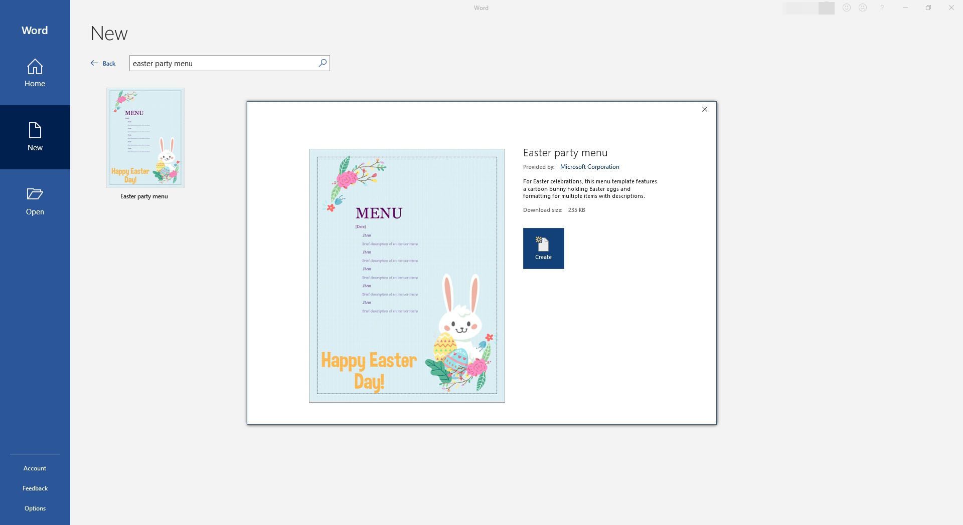 Fun Easter Bunny Dinner Party Menu Template for Microsoft Word