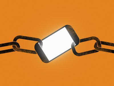A smartphone locked by a chain