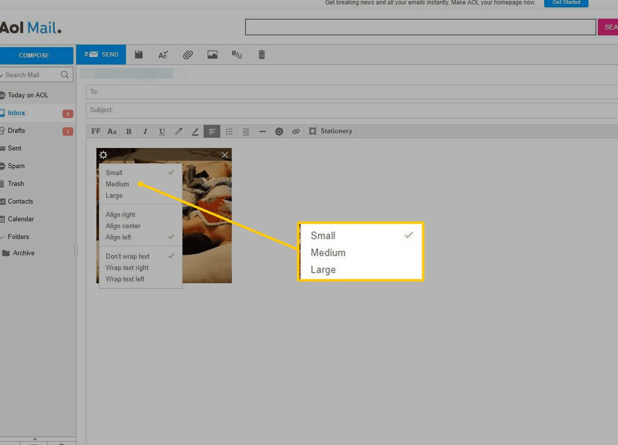 Small, Medium, Large options for image in AOL Mail