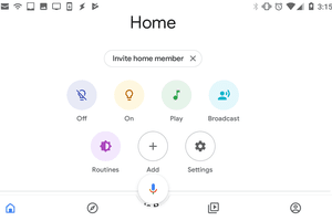 The Google Home app main page