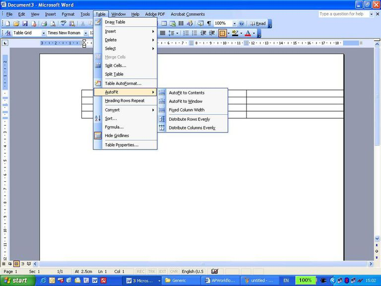 How to Autofit a table in Microsoft Word