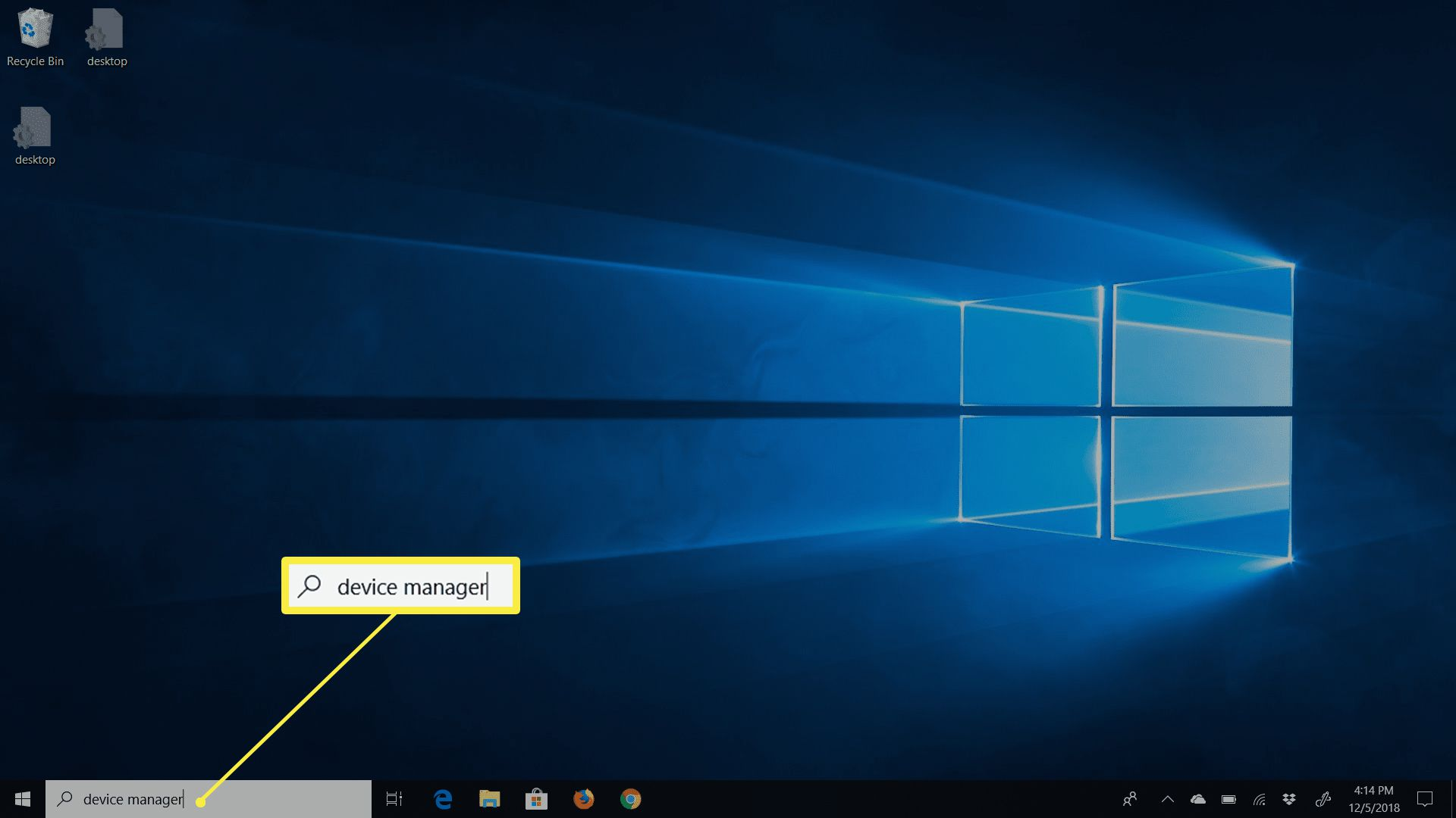 Search box in Windows with device manager entry