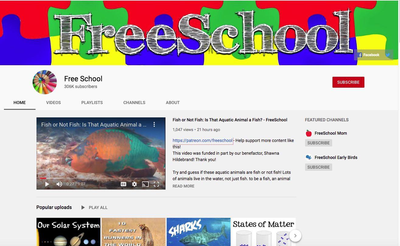 Trang chủ kênh YouTube giáo dục FreeSchool