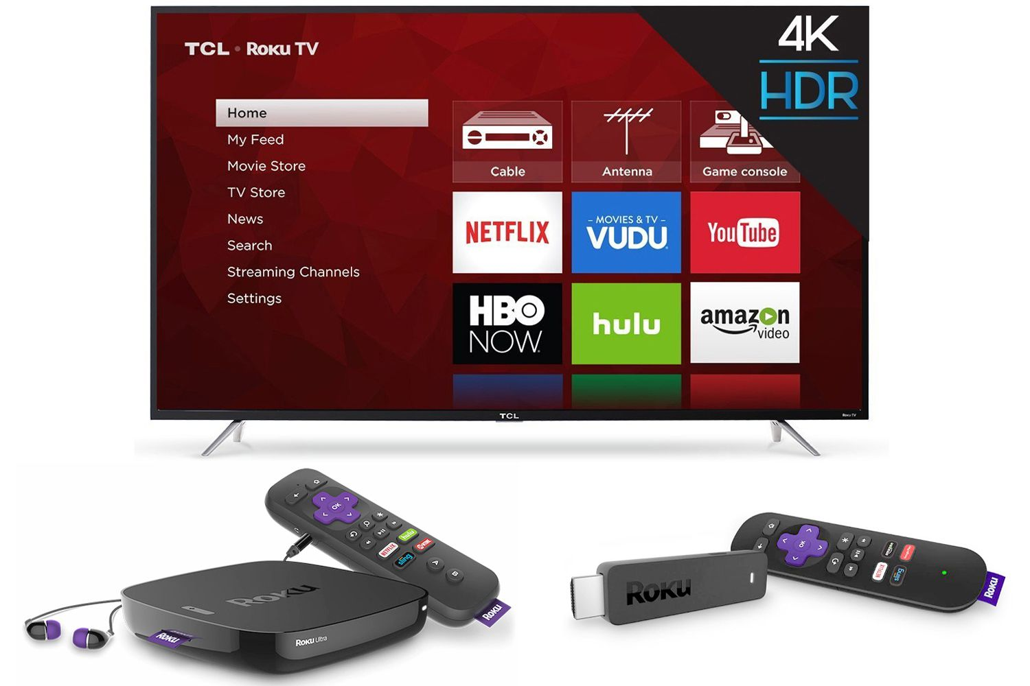 Roku TV, Box, and Streaming Stick Examples
