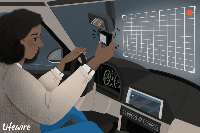 Illustration of a person using a Dashcam in their car