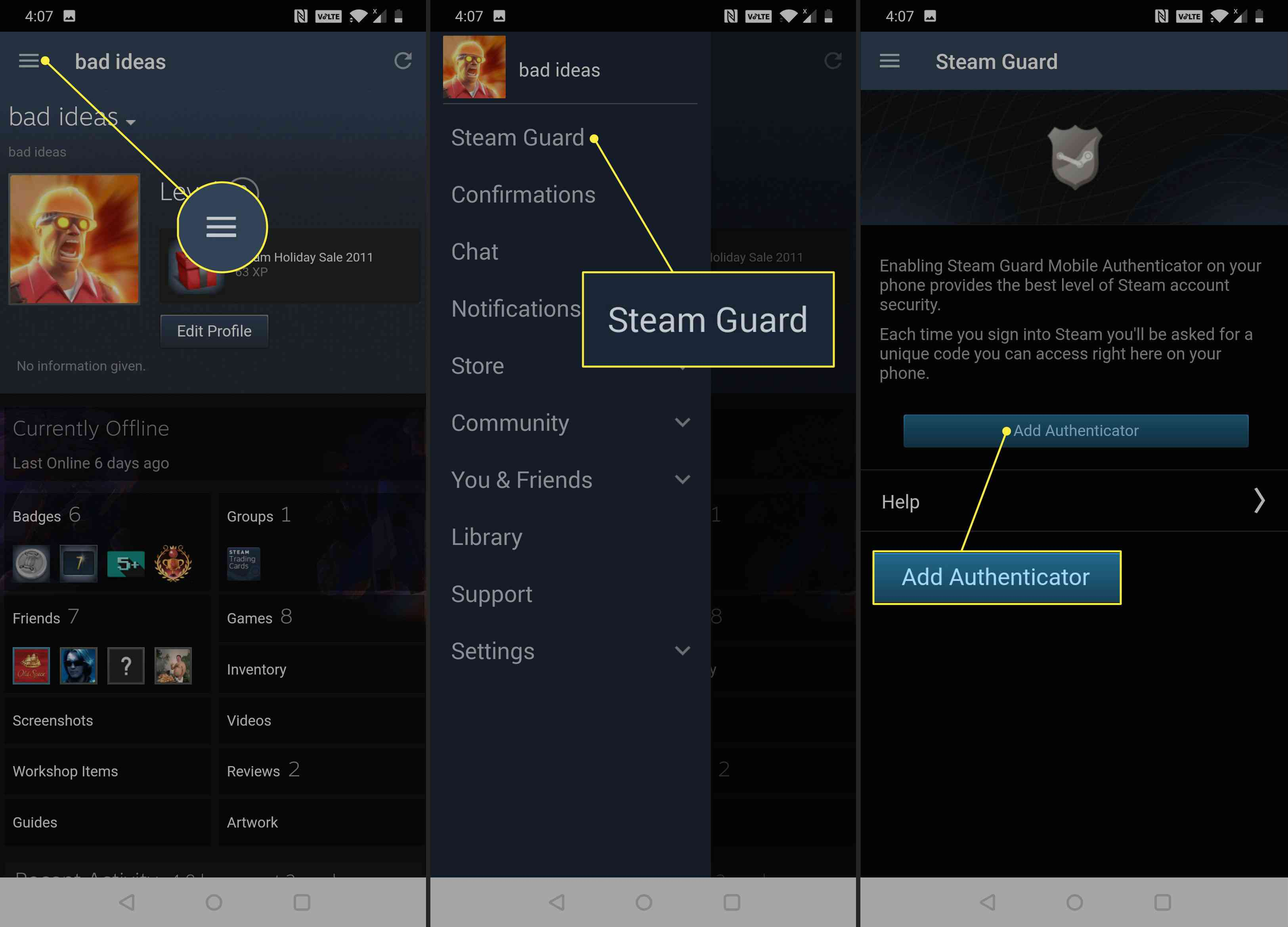 An Android phone using Steam Guard