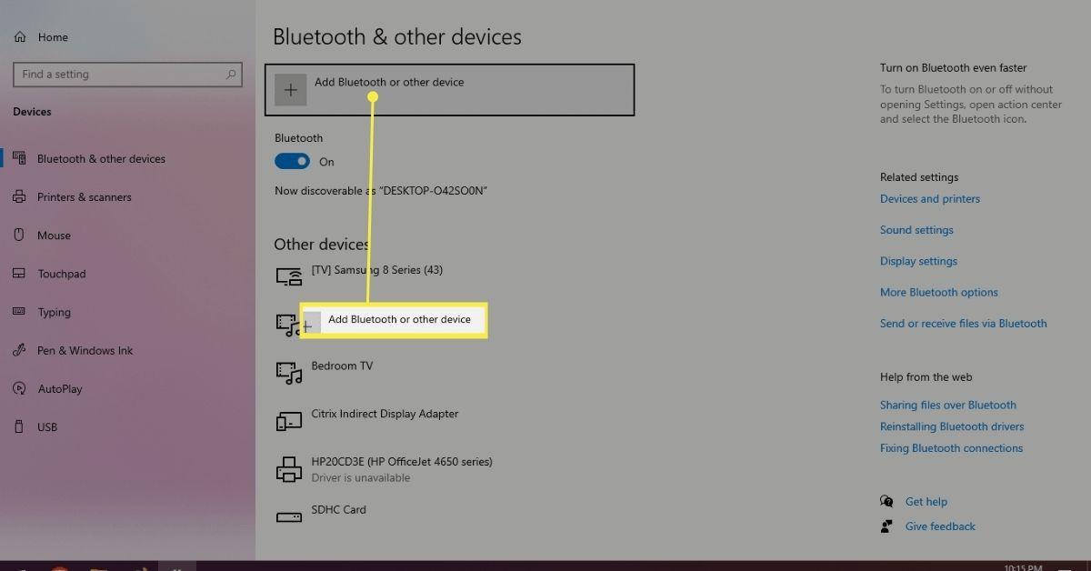 Adding bluetooth device