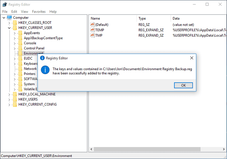 Screenshot showing the successful registry restore message in Windows 10